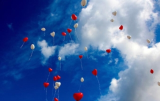 Heart Balloons in Sky