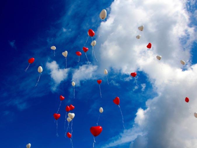 Heart Balloons in Sky